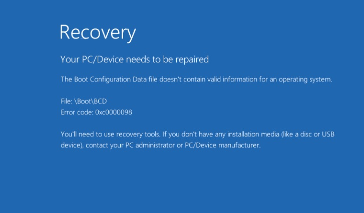 Как исправить ошибку 0xc0000098 в Windows 10