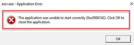 Приложение не смогло запуститься правильно (0xc0000142).